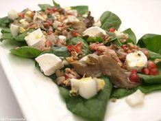 Ensalada de espinacas, setas, beicon y granada - MisThermorecetas