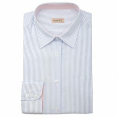 A classic blue and white stripe #shirt with a contrasting pink on the inside collar and cuff. The style is tailored at the waist, but a classic fitting shirt. Features include a single cuff and tapered back.