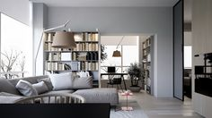 Simple and minimalist living room design with soft color. Small Apartment Design, Small Apartments, Simple Interior, Modern Interior Design, Living Area, Living Spaces, Living Rooms, Living Room Designs, Living Room Decor