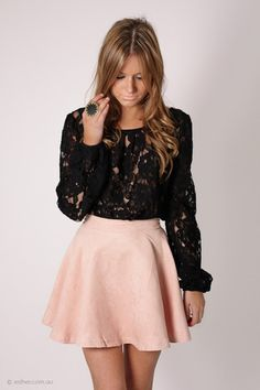 blush pink suede look mini skirt with black floral lace shirt Lazy Outfits, Skirt Outfits, Cute Outfits, Black Lace Blouse, Knitwear Fashion, Classy And Fabulous, Dress Me Up, Passion For Fashion, Dress To Impress