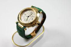 Cartier Pasha Armbanduhr in Gold mit grünem Lederarmband, weisses Zifferblatt https://www.ipfand.de/cartier