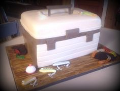 Tackle Box This was for a first birthday! Guess he is a future fisherman! Smash cake and cookies are attached. First Birthday Parties, First Birthdays, Birthday Cake, Birthday Ideas, Fishing Theme Cake, Tackle Box, Cupcake Cakes, Cupcakes, Box Cake