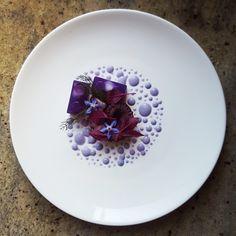 Octopus, Purple Cabbage Jelly, Amaranth, Borage Flower and Purple Cabbage Mayonnaise