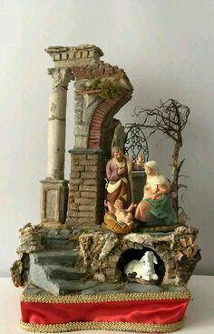 Nativity scene with terracotta nativity Nativity Stable, Diy Nativity, Christmas Nativity Set, Christmas Villages, Nativity Scenes, Christmas Crib Ideas, Christmas Crafts, Christmas Ornaments, Christmas Christmas