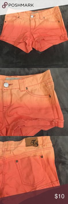 Orange ombré shorts orange ombré denim cuffed shorts. never worn, perfect condition. stretchy denim. Tilly's Shorts Jean Shorts