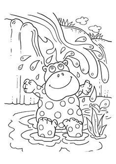 Un hippopotame tout joyeux de prendre un bain de boue, dessin à colorier