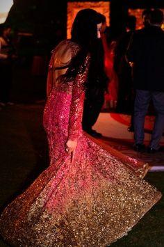Chandigarh Weddings Sabyasachi Mukherjee Bridal Wear shimmery pink and gold ombre anarkali Pakistani Outfits, Indian Outfits, Bridal Outfits, Bridal Dresses, Indian Bridal Fashion, Desi Clothes, Desi Wedding, Bridal Lehenga, Indian Dresses