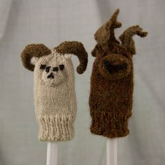 Dall Sheep Knit Wool Finger Puppet by PlaidSticks on Etsy