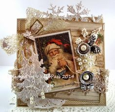 """Christmas card by LLC DT Member Vicky Pass, using papers from Pion Design's """"Wintertime in Swedish Lapland"""" collection. Santa image from Reprint. Chrismas Cards, Christmas Paper Crafts, Vintage Christmas Cards, Xmas Cards, Vintage Cards, Handmade Christmas, Holiday Cards, Christmas Decor, Romantic Artwork"""