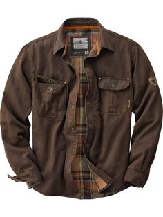 Legendary Whitetails Men's Journeyman Rugged Shirt Jacket Tobacco Large We added a flannel lining to our popular weathered cotton 'leather' shirt to build this one-of-a-kind shirt jac. The rugged cotton suede look comes with Rugged Style, Rugged Look, Style Men, Lumberjack Style, Mens Flannel, Flannel Shirts For Men, Men Shirts, Lookbook, Stylish Clothes