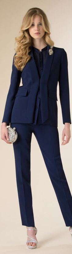 Pant Suits High Quality Formal Women Pant Suits Navy Blue Striped And Jacket Set Ladies Work Wear Office Uniform Designs Syles An Indispensable Sovereign Remedy For Home Suits & Sets