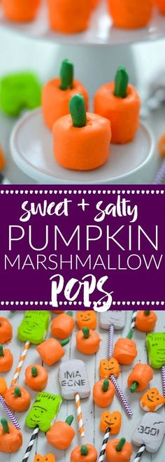 Gluten Free Sweet and Salty Pumpkin Marshmallow Pops are perfect for Halloween or Thanksgiving. Made with just 3 ingredients they make an easy party snack or dessert. Recipe from @whattheforkblog | whattheforkfoodblog.com