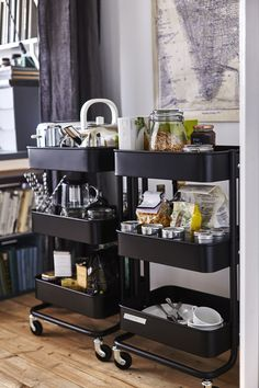 Utility carts are the perfect organizers for a small space, like a dorm room or small kitchen Small Kitchen Cart, Kitchen Utility Cart, Kitchen Trolley, Ikea Trolley, Ikea Bar Cart, Communal Kitchen, Ikea Raskog, Raskog Cart, Small Dorm