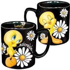 BLACK TWEETY MUGS WITH WHITE DAISIES