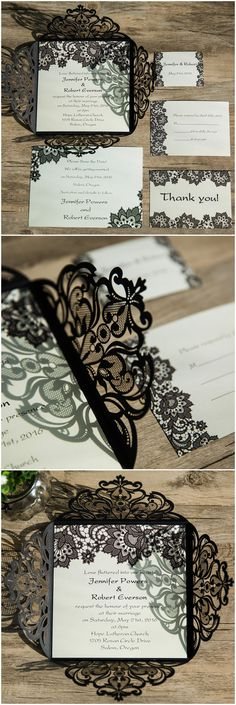 elegant black lace laser cut wedding invitations for vintage wedding ideas EWWS062