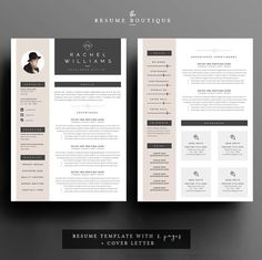 INSTANT DOWNLOAD 3page Resume / CV Template Cover Letter for by TheResumeBoutique