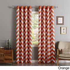 Aurora Home Chevron Print Room Darkening Grommet Top Curtain Panel Pair | Overstock.com Shopping - The Best Deals on Curtains