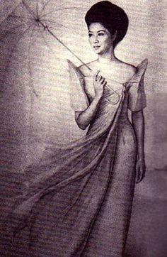 Imelda Marcos in the terno(Traditional Filipino dress) Filipino Art, Filipino Culture, Filipino Tattoos, Filipino Debut, Filipino Tribal, Philippines Dress, Philippines Culture, Philippines Food, Filipiniana Dress