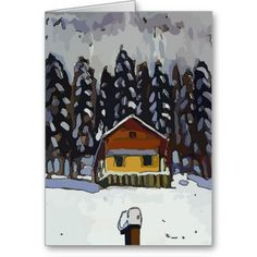 Cabin In Snow, edit text card for Holiday or remove text, Fig Street Studio cards