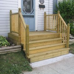 Building mobile home steps is one of the easy home additions. Front Porch Steps, Small Front Porches, Front Porch Design, Decks And Porches, Porch Designs, How To Build Porch Steps, Small Deck Designs, Side Porch, Front Deck
