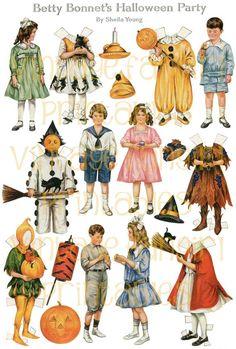 Free Antique Halloween Paper Doll – Printable Paper Craft Vintage Halloween Betty Bonnet 1917 Paper Dolls – Craft Jr.