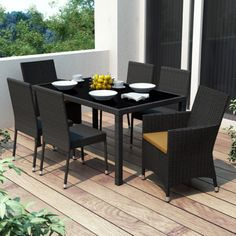 Outdoor CorLiving Park Terrace Black Weave Patio Dining Set - 7 piece - PPT-604-Z