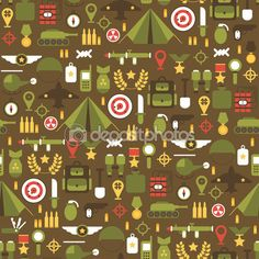 Seamless pattern of flat colorful military and war icons set. Army infographic design elements. Illustration in flat style. — Векторная картинка #54749523