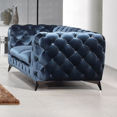See the Vennie Chesterfield Loveseat Upholstery: Blue. New Furniture, Living Room Furniture, Living Room Decor, Furniture Ideas, Furniture Reupholstery, Furniture Dolly, Furniture Stores, Wooden Furniture, Outdoor Furniture