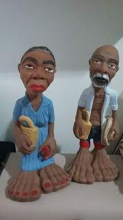 Fazendo Arte com Tereza: Pintura em gesso Casal de Anciãos Caipiras