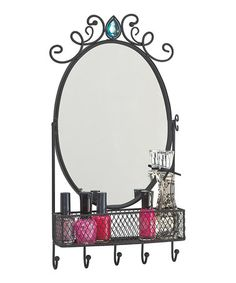 """Mirror & Jewelry Holder  - cover the """"gem"""" with a flower & repaint it and this could be adorable."""
