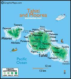 Tahiti and Moorea large color map by World Atlas