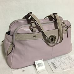 445399210 My Coach Genuine Leather Triple Compartment Lavender Satchel by Coach! Size  for $$139.00.