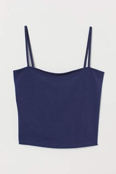 Fitted, cropped camisole top in cotton jersey with narrow shoulder straps. Really Cute Outfits, Cute Summer Outfits, Summer Clothes, Simple Closet, Ribbed Bodysuit, Crop Top Outfits, Short Tops, Fashion Company, Cute Shirts