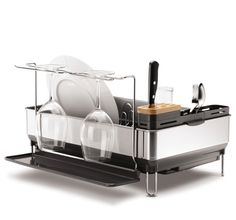 This simplehuman steel frame dishrack has an elegant solid steel frame that matches the aesthetic of upscale kitchen appliances. The removable wine glass holder accommodates up to four extra large wine glasses. Perfect for a modern kitchen. $79.99