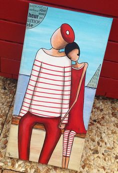Lovers of the seaside Paint Acrylic Stripe St Valentine Couple of Lovers Marin Love Marinière Boat Painting, Stone Painting, Watercolor Illustration, Watercolor Art, Art Mignon, Abstract Face Art, Paint Stripes, Beach Art, Reproduction
