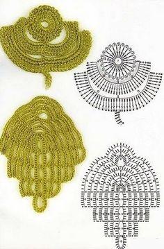 Delicadezas en crochet Gabriela: Motivos de hojas imitando a la naturaleza en ganchillo