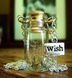 Dandelion Wishes Glass Bottle Necklace  Make a Wish Necklace with Dandelion Seeds Wire Wrapped - 30 inches