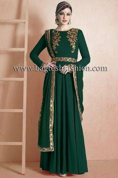 Fashionable Green Georgette Kameez