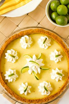 Key Lime Pie...a specialty of the Florida Keys, dates back to the 1800's when refrigeration was not readily available, so canned sweetened condensed milk was used.  Key limes are smaller than Persian limes and yellow.