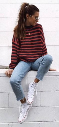 Cute Fall Outfit Stripped Sweater Plus Jeans Plus Converse Outfits 2019 Outfits casual Outfits for moms Outfits for school Outfits for teen girls Outfits for work Outfits with hats Outfits women Winter Outfits For Teen Girls, Cute Fall Outfits, Fall Winter Outfits, Tumblr Fall Outfits, Cute Fall Clothes, Fall Outfits 2018, Winter Outfits For School, Hipster Fall Outfits, Laid Back Outfits