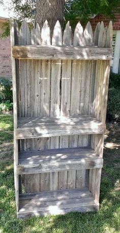 Picket fence shelf using reclaimed repurposed wood; perfect for cottage style home decor; Upcycle, Recycle, Salvage, diy, thrift, flea, repurpose! For vintage ideas and goods shop at Estate ReSale & ReDesign, Bonita Springs, FL