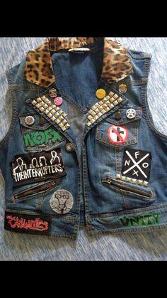 Custom punk battle vest в 2019 г. my battle vest designs/ al Band Jacket, Vest Jacket, Punk Fashion, Diy Fashion, Lolita Fashion, Fashion Ideas, Fashion Dresses, Fashion Tips, Punk Outfits