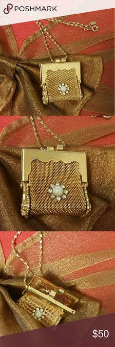 Vintage Treasure Beautiful Vintage Purse Necklace Actually Opens...size is a inch square comes with a medium chain Jewelry Necklaces