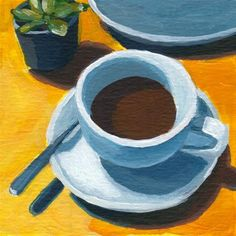 """"""" by Rachel Petruccillo Small Canvas Paintings, Small Canvas Art, Diy Canvas Art, Acrylic Painting Canvas, Coffee Cup Art, Coffee Png, Coffee Doodle, Coffee Vector, Coffee Girl"""