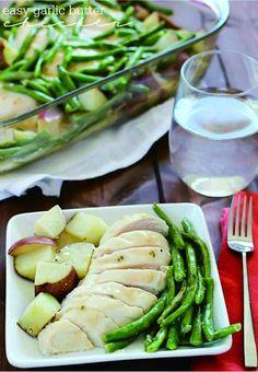 ONE POT GARLIC BUTTER CHICKEN, GREEN BEANS & POTATOES - bean, chicken, garlic, healthy, potato, recipes