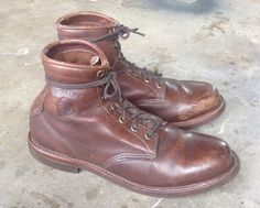 VTG MENS CHIPPEWA WORK LEATHER BROWN BOOTS SIZE 10.5 EUC #Chippewa #WorkSafety