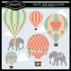 Hot Air Balloons and Elephants  With a whimsicle vintage feel, this clip art is unique and will compliment so many projects.