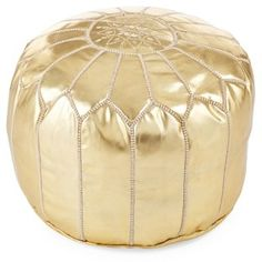 Folami Moroccan Leather Pouf, Gold