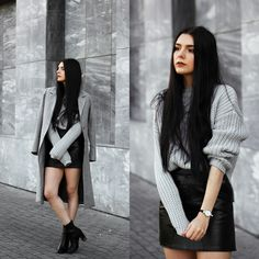 Holynights Claudia - Romwe Chunky Knit Sweater, 4th & Reckless Smoke Marble Heel Boots, Mockberg Watch - Autumn grey's