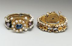 Jeweled Bracelet.    6th–7th century     Probably made in  Constantinople.  Culture:   Byzantine  Medium: Gold, silver, pearl, amethyst, sapphire, glass, quartz, emerald plasma  Accession Number:    17.190.1670  MET